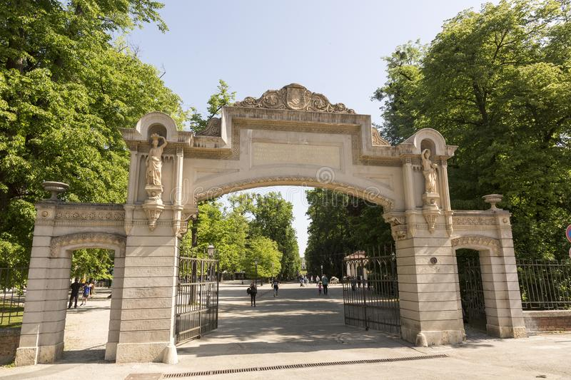 Entrance at Maksimir garden in Zagreb Croatian capital. Maksimir Park is the oldest public park and botanical garden in Zagreb, Croatia. It forms part of the stock images
