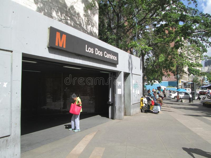 Entrance of a Metro station Los Dos Caminos, Caracas, Venezuela.  royalty free stock photography