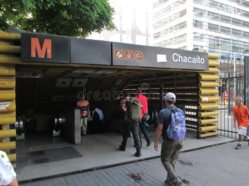 Entrance of a Metro station with people Chacaito, Caracas, Venezuela.  royalty free stock photo