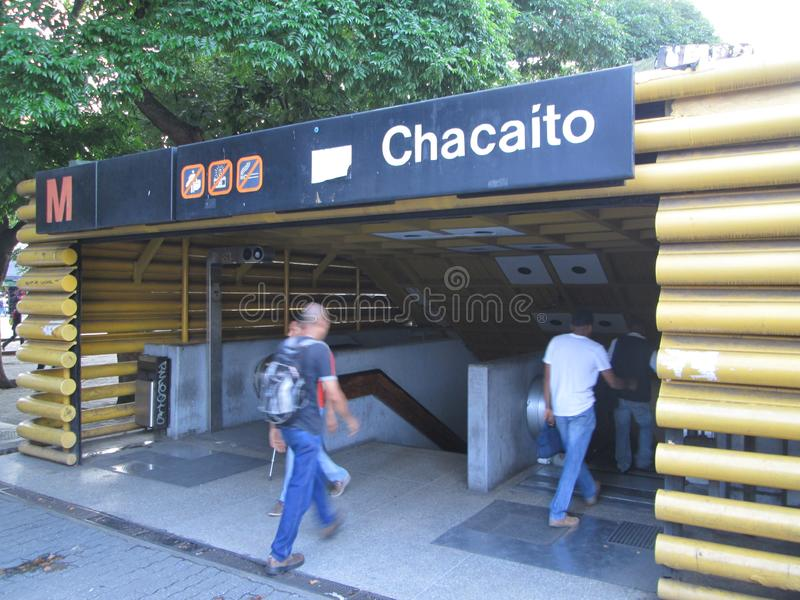 Entrance of a Metro station with people Chacaito, Caracas, Venezuela.  royalty free stock image