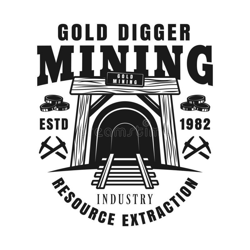 Entrance in mine shaft vector monochrome emblem. Badge, label or logo for precious metal mining company in vintage style isolated on white background royalty free illustration