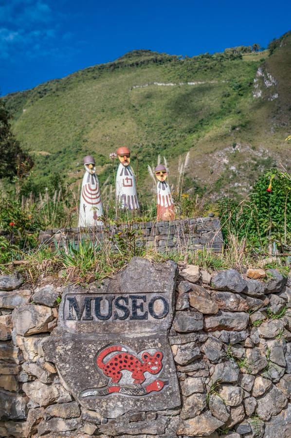 Entrance of the mummy museum in Leymebamba, Peru. Replicated sarcophagi of Karajia at the entrance of the museum in the town of Leymebamba royalty free stock image