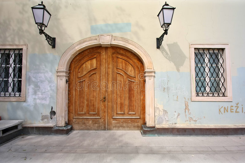 Entrance of old house stock image