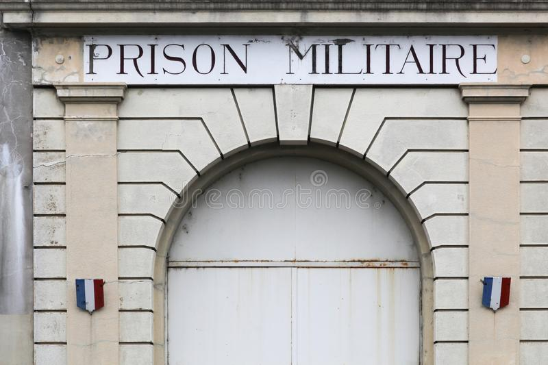 Entrance of the old Montluc military prison in Lyon stock images