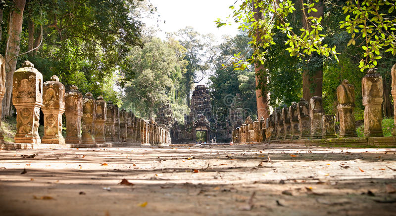 Entrance passage of Preah Khan Temple, Cambodia. Entrance passage of Preah Khan or Royal Sword Temple dated from 12th Century in Angkor Wat, near Siem Reap stock photos
