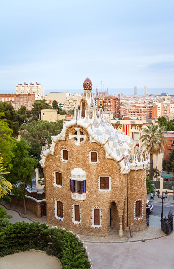 Entrance pavilion of the Park Guell in Barcelona, Spain stock photos