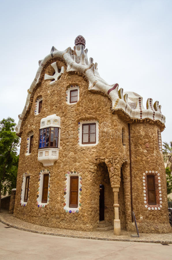 Entrance pavilion of the Park Guell in Barcelona, Spain stock images