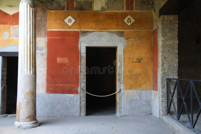 Entrance at Pompei. Front view of pompei home royalty free stock image