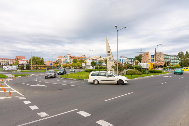 The entrance of resort complex Sunny Beach in Bulgaria royalty free stock images