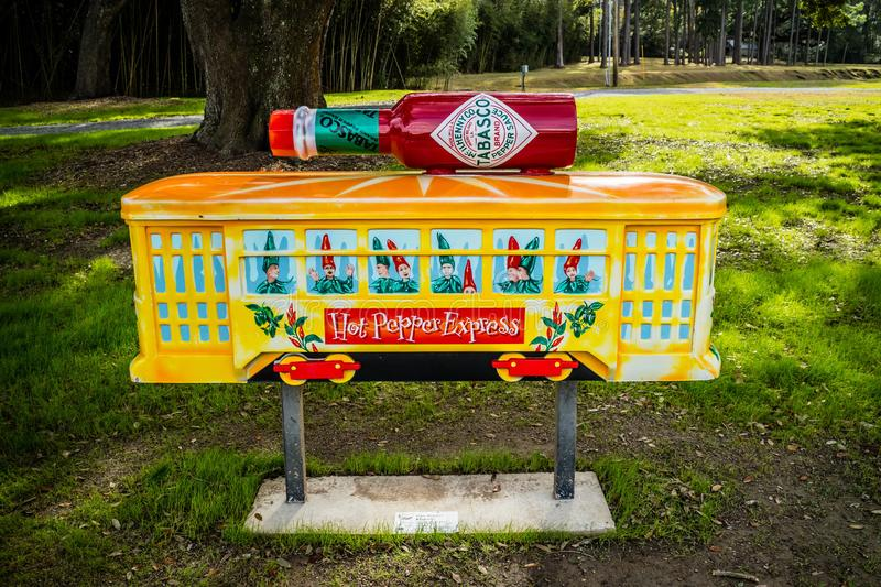 An entrance road going to Tabasco Factory and Food Tour at Avery Island, Louisiana. Avery Island, LA, USA - Jan 14, 2017: A welcoming signboard at the entry stock photos