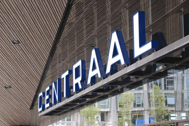 Entrance of the Rotterdam Centraal railway station with name on the front in the Netherlands stock images