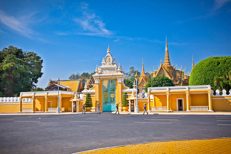 The entrance of Royal palace, Phnom Penh, Cambodia. The entrance of Royal palace in Phnom Penh, Cambodia royalty free stock photography