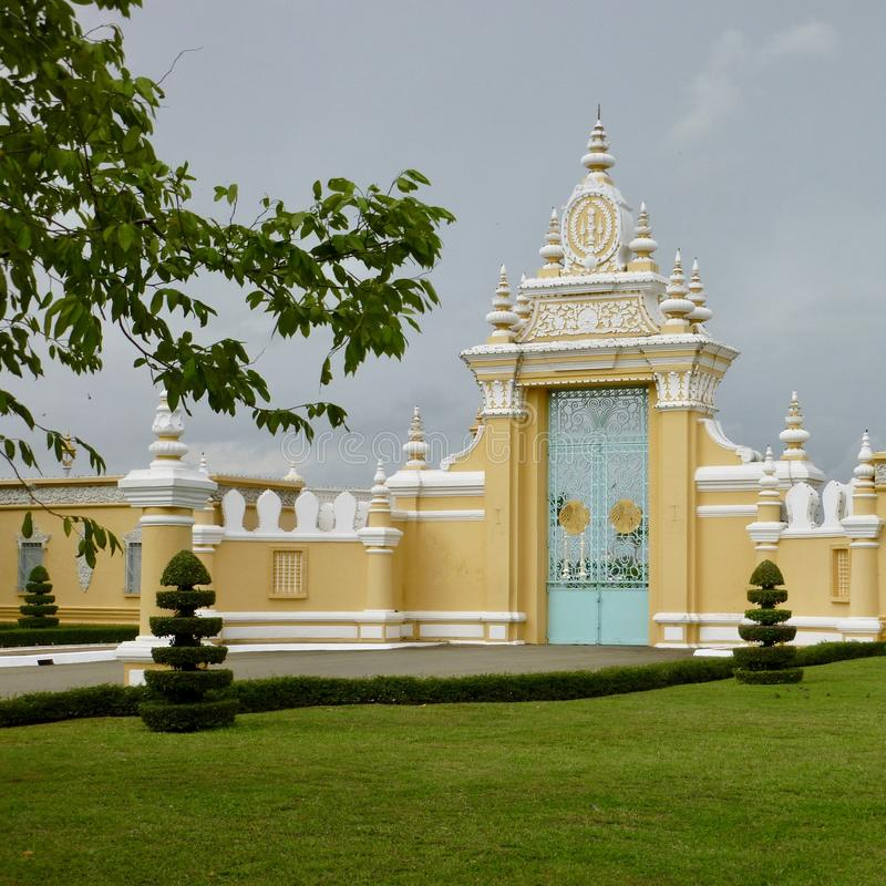 Entrance of the Royal Palace in Phnom Penh, Cambodia stock photos