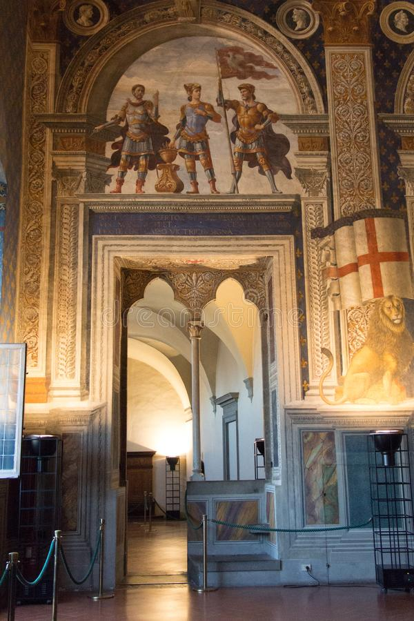 Entrance in Sala della Cancelleria in Palazzo Vecchio, Florence, Tuscany, Italy. royalty free stock images