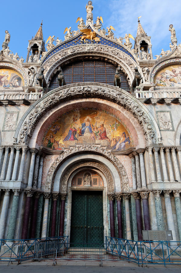 Entrance San Marco Basilica, St Mark's Cathedral, in Venice, Italy royalty free stock image