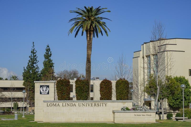 Entrance sign of the Loma Linda University. Loma Linda, MAR 9: Entrance sign of the Loma Linda University on MAR 9, 2019 at Loma Linda, California stock photos