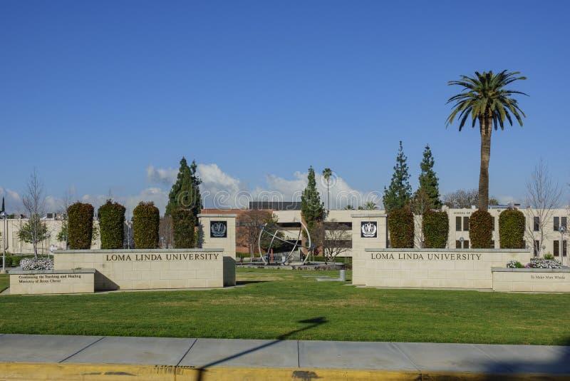 Entrance sign of the Loma Linda University. Loma Linda, MAR 9: Entrance sign of the Loma Linda University on MAR 9, 2019 at Loma Linda, California royalty free stock photography