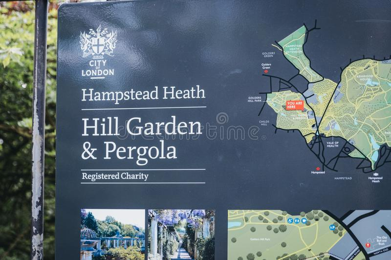 Entrance sign to the The Hill Garden and Pergola in Golders Green, London, UK royalty free stock image