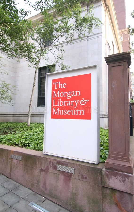 Entrance and Sign to Pierpont Morgan Library. The Morgan Library and Museum on Madison Avenue in New York City stock photo