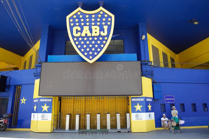 The stadium La Bombonera in La Boca, Buenos Aires, Argentina. Entrance at the stadium La Bombonera in La Boca in Buenos Aires, Argentina. The stadium is owned by royalty free stock image