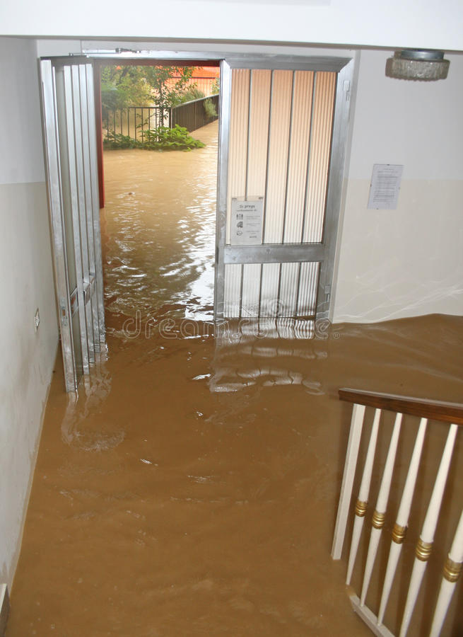Entrance And Staircase Of The House Invaded By Mud  2 Stock Photo