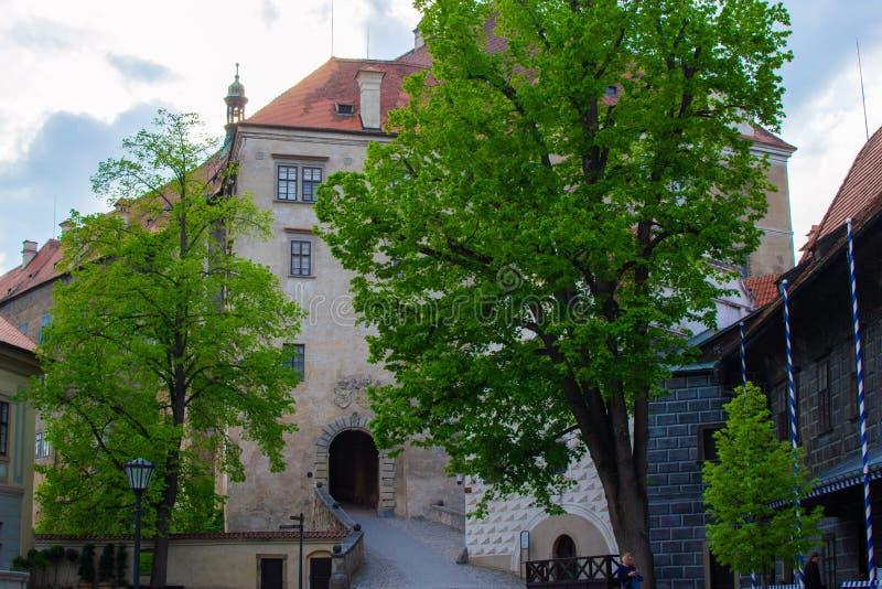 Entrance of the State Castle of Cesky Krumlov or Cesky Krumlov Castle, residence of the South Bohemian aristocracy Czech. Republic stock photo