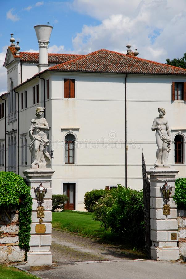 Entrance with statues of an elegant building in Portobuffolè in the province of Treviso in the Veneto (Italy) stock photo