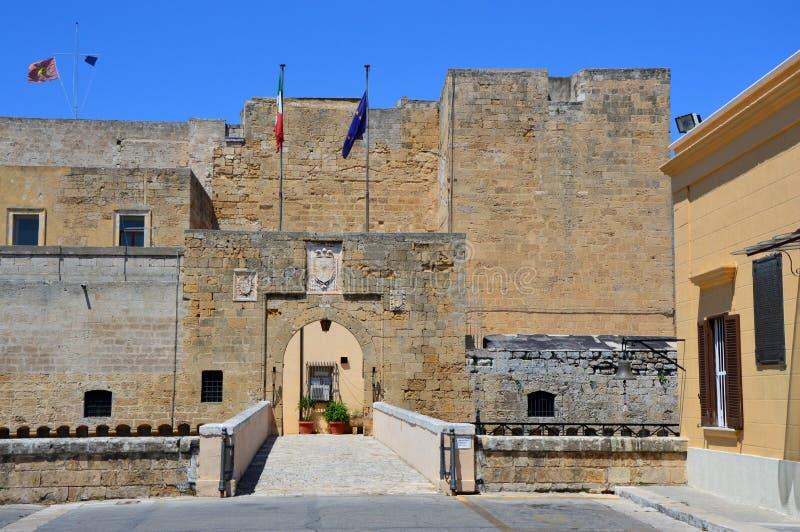 Entrance of Swabian castle of Brindisi currently headquartered of Marina Militare, Brindisi, Italy.  stock photo