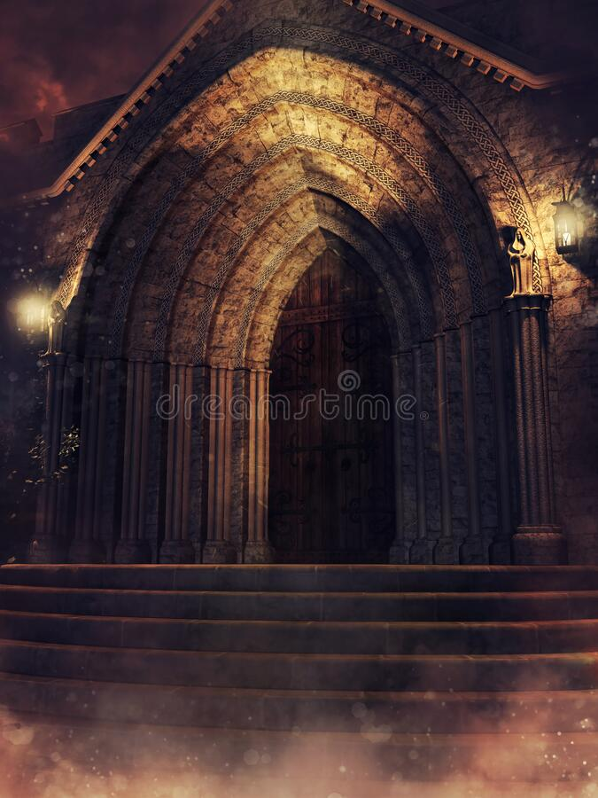 Free Entrance To A Gothic Chapel At Night Royalty Free Stock Photography - 171119697