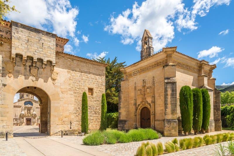Entrance to Abbey of Santa Maria de Poblet in Spain royalty free stock photos