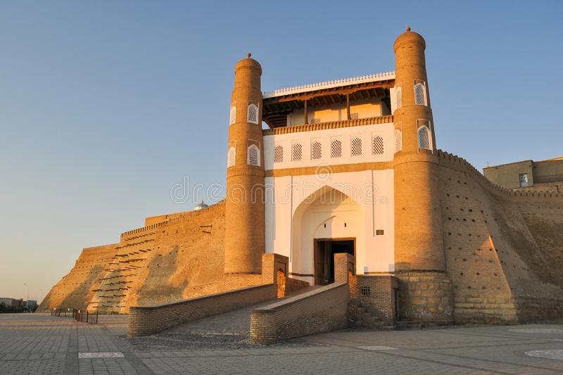 Entrance to the ancient citadel in Bukhara `Ark citadel`. Entrance to the ancient citadel in Bukhara `Ark citadel`, Uzbekistan royalty free stock photography