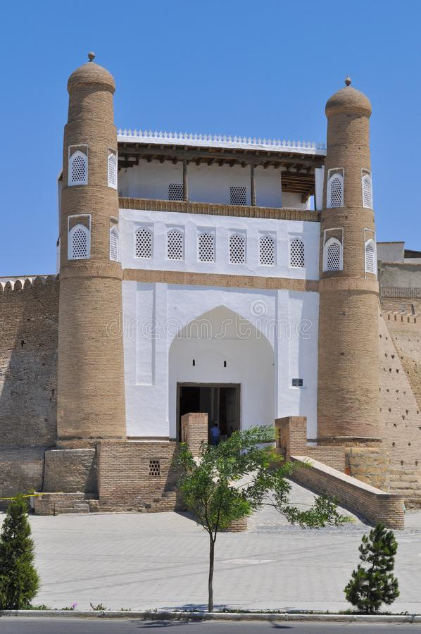 Entrance to the ancient citadel in Bukhara `Ark citadel`,. Entrance to the ancient citadel in Bukhara `Ark citadel`, Uzbekistan royalty free stock image