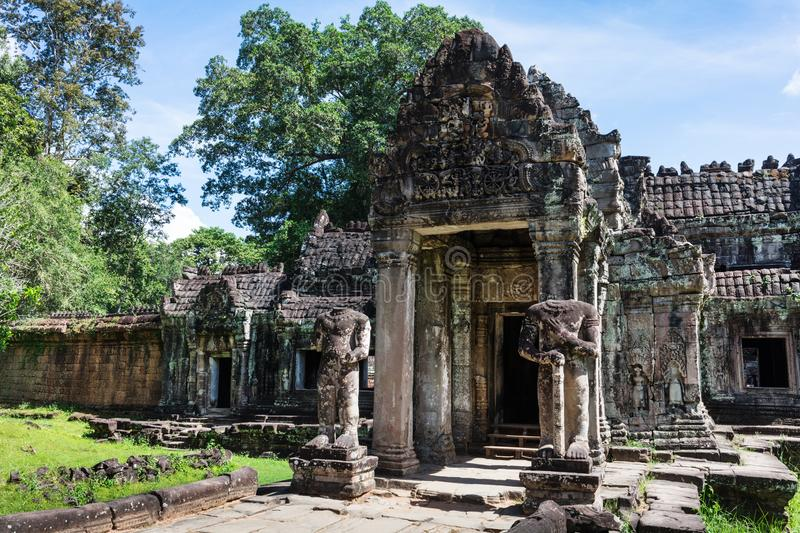 Entrance to ancient Preah Khan temple, Cambodia. Entrance to ancient Preah Khan temple in Angkor, Cambodia royalty free stock images