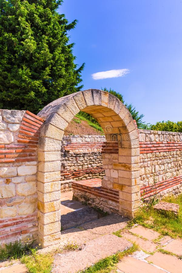 Entrance to the Ancient Thracian tomb Heroon in Pomorie, Bulgaria. Landscape royalty free stock photography