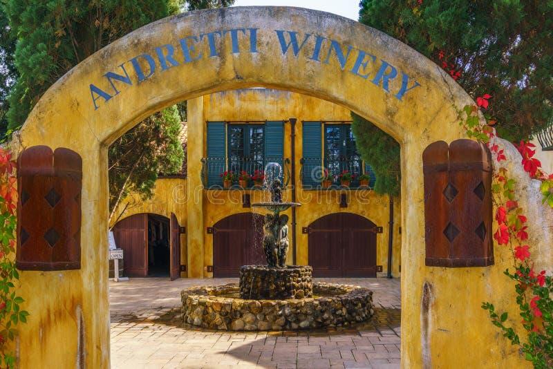 Beautiful Fall Colors gracing the Walls of Andretti Winery stock photos