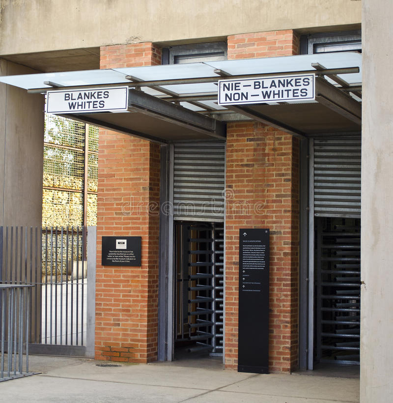 The entrance to the Apartheid Museum. Johannesburg, South Africa. The entrance to the Apartheid Museum royalty free stock photo