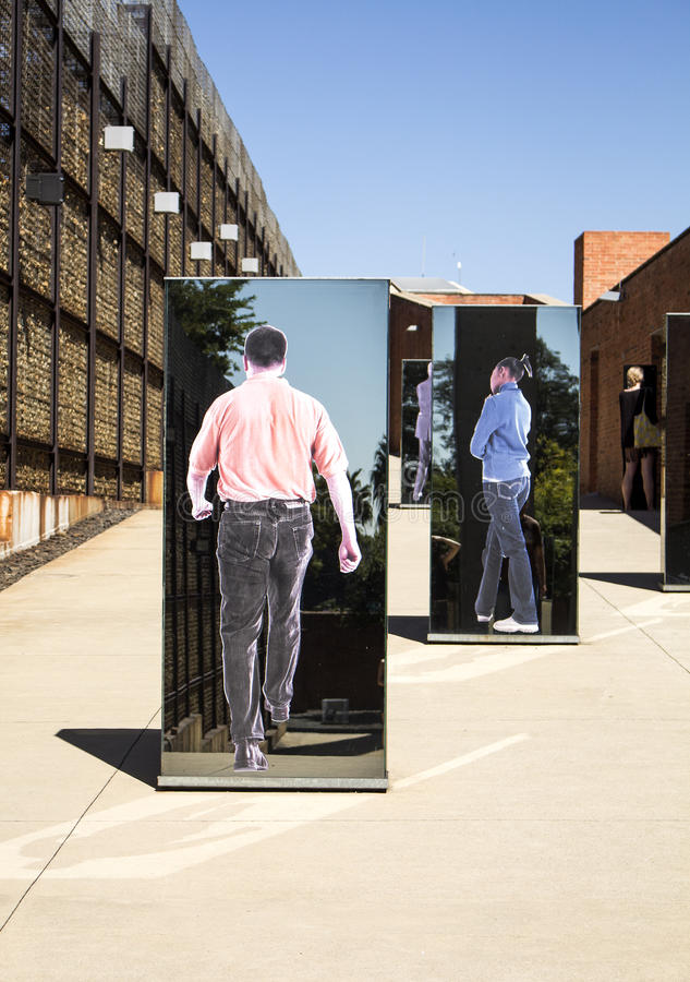 The entrance to Apartheid Museum, Johannesburg. South Africa, Johannesburg - 30 March, 2016: The entrance to Apartheid Museum. Exhibition is dedicated to regime stock photography