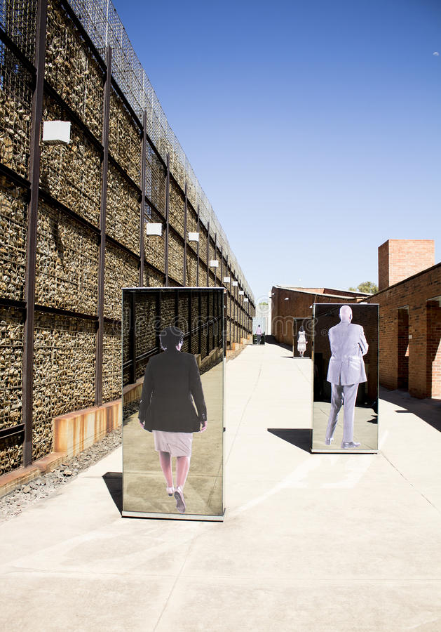 The entrance to Apartheid Museum, Johannesburg. South Africa, Johannesburg - 30 March, 2016: The entrance to Apartheid Museum. Exhibition is dedicated to regime royalty free stock photo