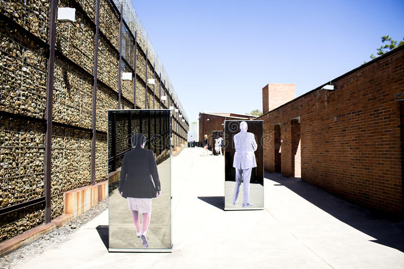 The entrance to Apartheid Museum, Johannesburg. South Africa, Johannesburg - 30 March, 2016: The entrance to Apartheid Museum. Exhibition is dedicated to regime stock photos