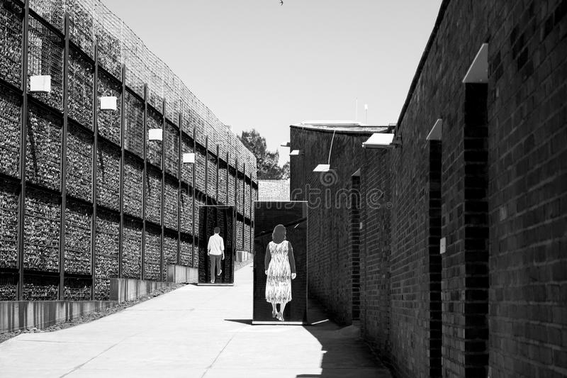 The entrance to Apartheid Museum, Johannesburg. South Africa, Johannesburg - 30 March, 2016: The entrance to Apartheid Museum. Exhibition is dedicated to regime royalty free stock images