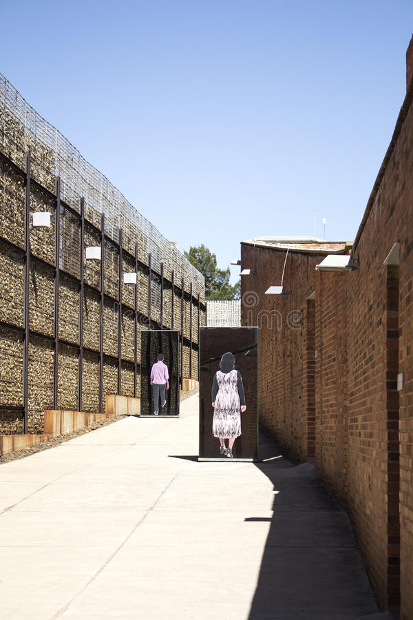 The entrance to Apartheid Museum, Johannesburg. South Africa, Johannesburg - 30 March, 2016: The entrance to Apartheid Museum. Exhibition is dedicated to regime royalty free stock photos