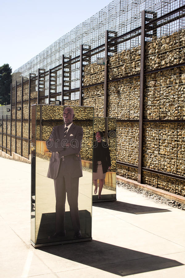 The entrance to Apartheid Museum, Johannesburg. South Africa, Johannesburg - 30 March, 2016: The entrance to Apartheid Museum. Exhibition is dedicated to regime stock image