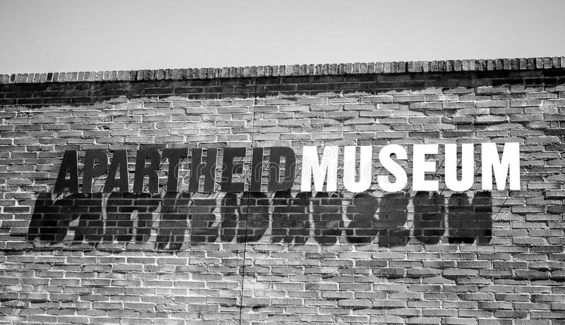 The entrance to Apartheid Museum. Sign. South Africa, Johannesburg - 30 March, 2016: The entrance to Apartheid Museum. Sign royalty free stock photo