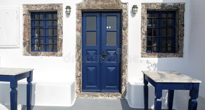 Entrance to the apartments in Fira, Santorini, Greece. Image of traditional white-washed house on Santorini, Greece royalty free stock photography