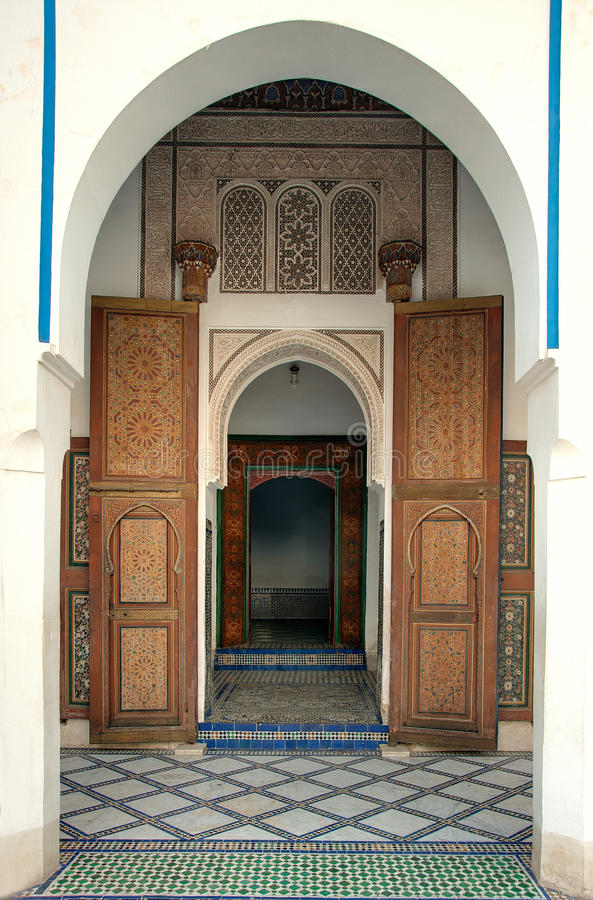 Entrance to Bahia Palace, Marrakech, Morocco royalty free stock photography