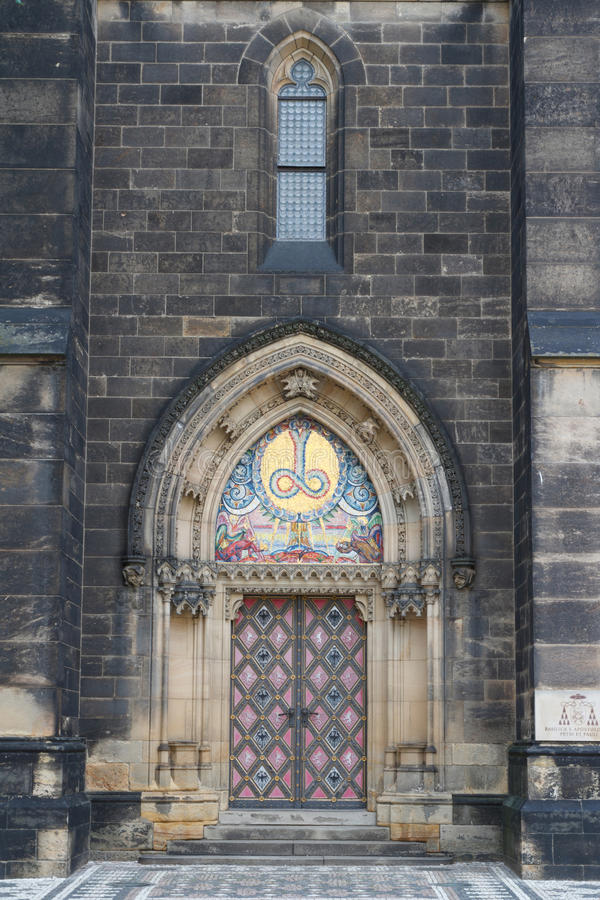 Entrance to the Basilica of St Peter and St Paul. Prague. Entrance to the Basilica of St Peter and St Paul. Vysehrad Prague stock images