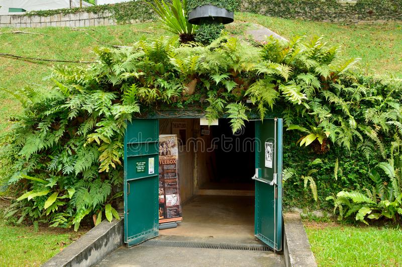 Entrance to the Battle Box Museum at Fort Canning in Singapore royalty free stock photos