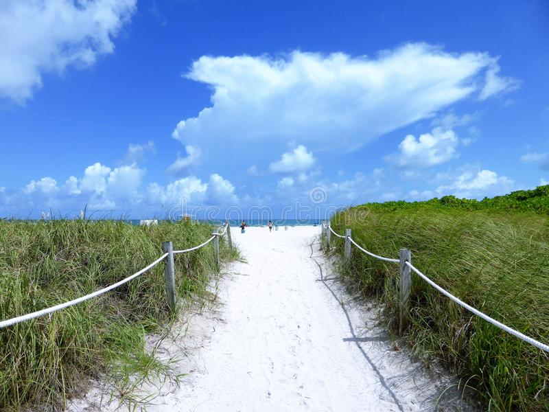 Entrance to the beach stock images