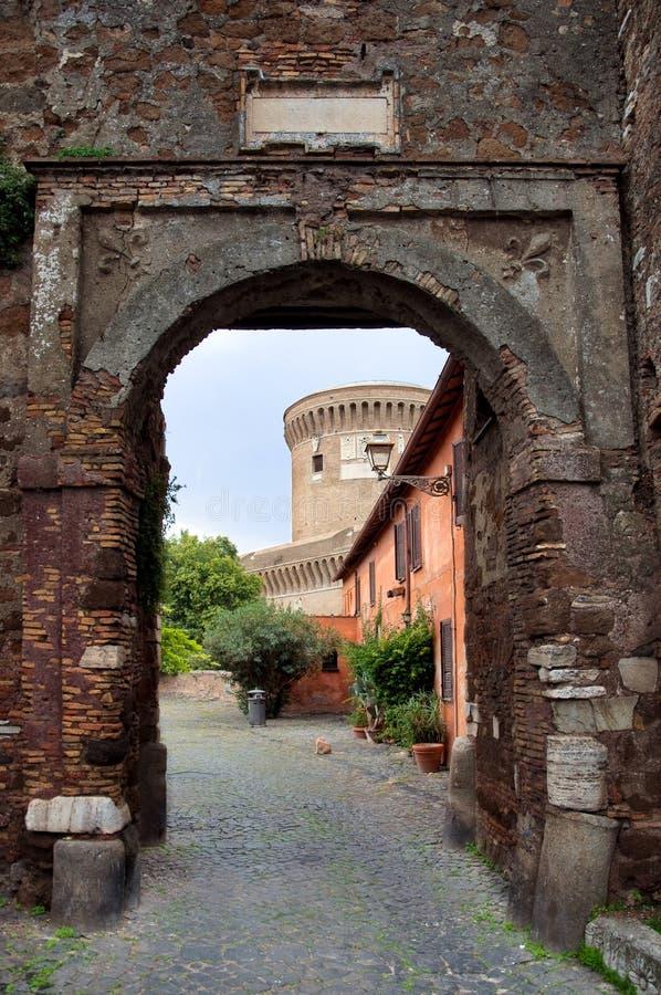 Entrance to Borgo di Ostia antica and Castello di Giulio II at R. Ome - Italy stock image