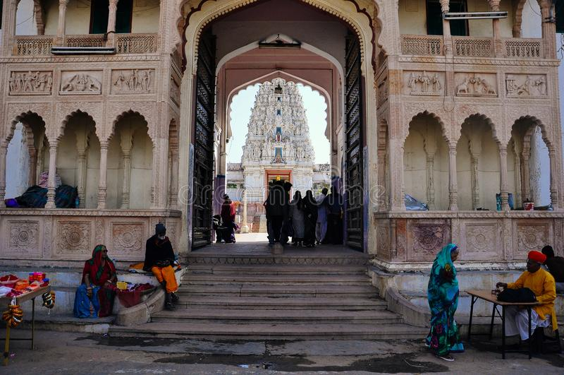 Entrance to Brahma's Temple in Pushkar, India. stock photos